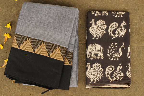 Grey Narayanpet cotton saree with contrast border.TCB-NP3-P20-The Chalk Boutique