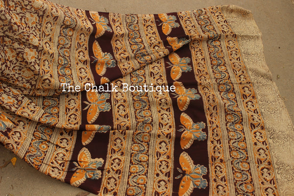 Overall cotton kalamkari saree with butterfly border.TCB-KAL1-P9