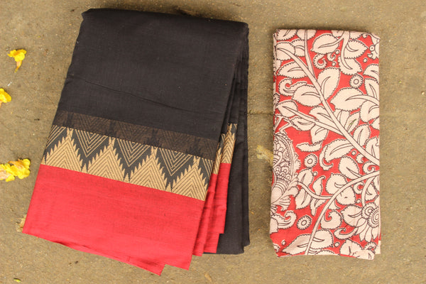 Black Narayanpet cotton saree with contrast border.TCB-NP5-P20-The Chalk Boutique