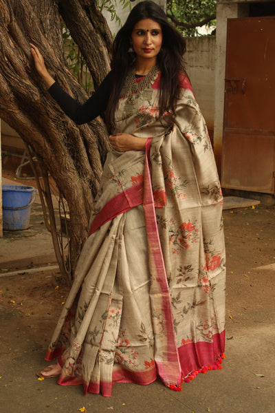 'Floral' Digital Print pure tussar silk saree in grey. TCB-SLK2-MS2