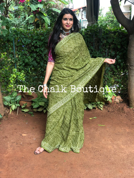 | Kuhu | Green Traditional Dabu Handblock printed Cotton saree.