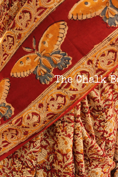 Red Overall cotton kalamkari saree with butterfly border. TCB-KAL11-P9