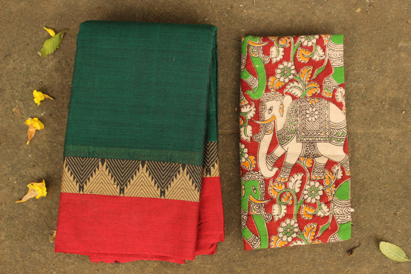 Bottle Green Narayanpet cotton saree with contrast border.