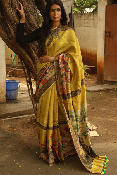 'Royal Court' Digital Print pure tussar silk saree in mustard. TCB-SLK3-MS2