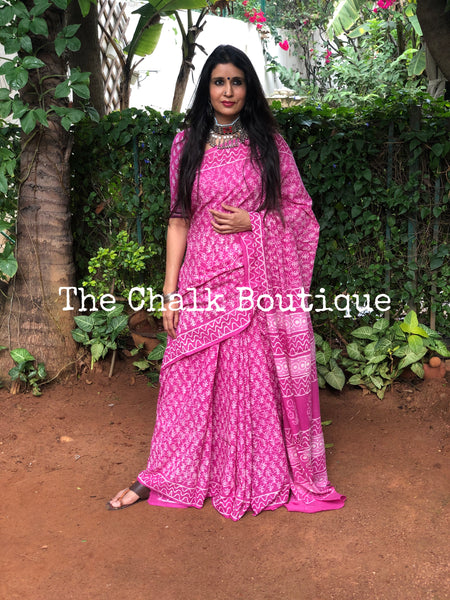 | Chaya | Pink Traditional Dabu Handblock printed Cotton saree.