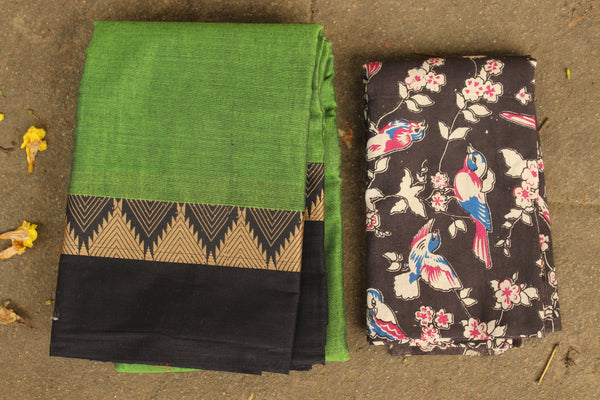 Green Narayanpet cotton saree with contrast border.TCB-NP7-P20-The Chalk Boutique