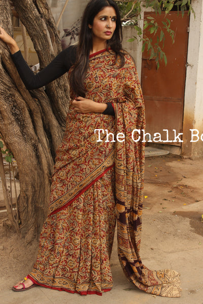 Red floral Overall kalamkari saree with thin border.TCB-KAL5-P9