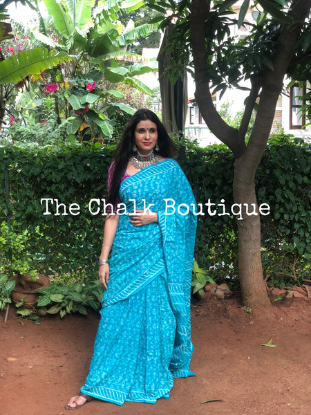 | Maya | Blue Traditional Dabu Handblock printed Cotton saree.