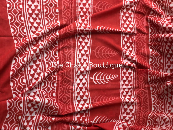 | Radha | Orange/Red Traditional Dabu Handblock printed Cotton saree.