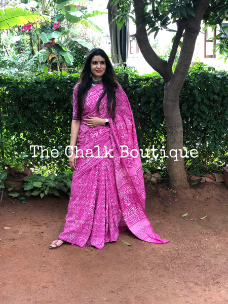 | Navya | Pink Traditional Dabu Handblock printed Cotton saree.