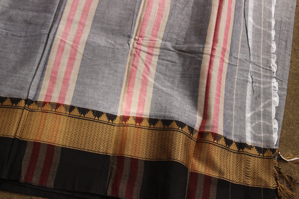 Grey Narayanpet cotton saree with contrast border.