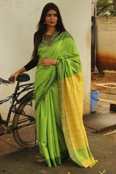 | Hara | - Green Staple Viscose saree with pure tussar palla.