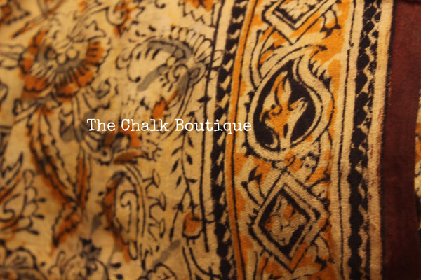 Floral Overall kalamkari saree with thin border.TCB-KAL7-P9