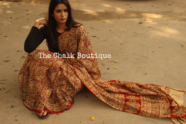 Red Floral Overall kalamkari saree with thin border.TCB-KAL8-P8