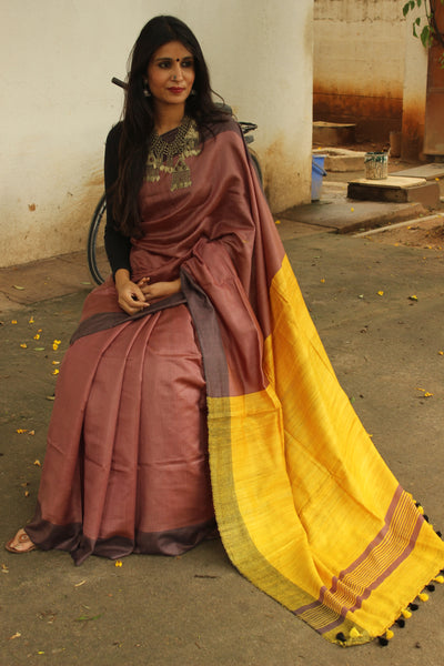 | Tipsy | - Staple Viscose saree with pure tussar palla.TCB-VIS4-MS1