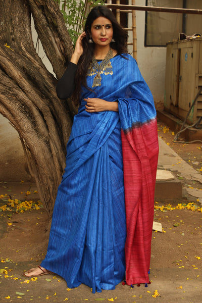 | Blue Lagoon | - Pure tussar silk saree in blue.