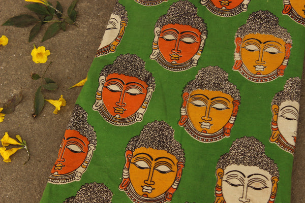 Green buddha Kalamkari cotton running fabric. TCB-FCOT8-P8