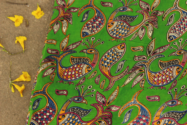 Green and Mustard fish hand block print kalamkari cotton silk fabric.TCB-FSLK4-P8