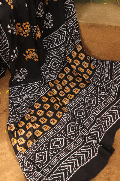 | Kajrare | -Black hand block printed cotton saree.
