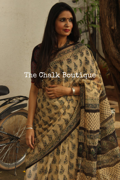 Beige Bagru Hand Block Print Kota Doria Saree TCB-DOR6-KT1-The Chalk Boutique