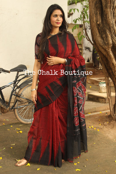 | Maria | - Maroon handwoven sambalpuri kargil saree.TCB-KS6-NH3-The Chalk Boutique