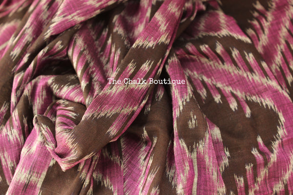 Purple and Black Handwoven sambalpuri ikat saree in cotton. TCB-OV4-NH-The Chalk Boutique