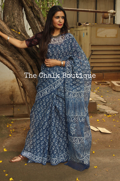 Indigo Bagru Hand Block Print Kota Doria Saree TCB-DOR4-KT1-The Chalk Boutique