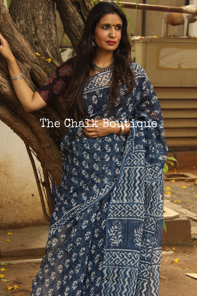 Indigo Bagru Hand Block Print Kota Doria Saree-The Chalk Boutique