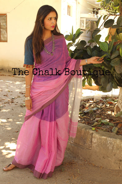 Pink-Purple khadi cotton saree with contrast palla. NF- COT10-C3