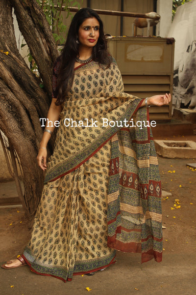Beige Bagru Hand Block Print Flowers Kota Doria Saree.-The Chalk Boutique