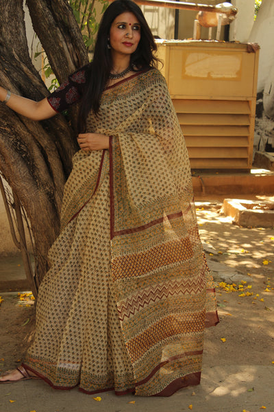 Beige Bagru Hand Block Print Floral Kota Doria Saree.-The Chalk Boutique