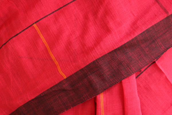 | Alice's Maze | Handloom bricked cotton saree with contrast border.TCB-AF1-BN-The Chalk Boutique