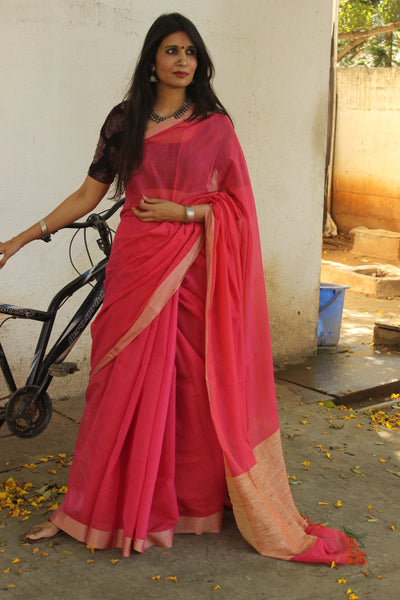 | Pink Smoothie | Handloom Kota Doria Cotton saree with contrast gicha paar. TCB-AG1-BN
