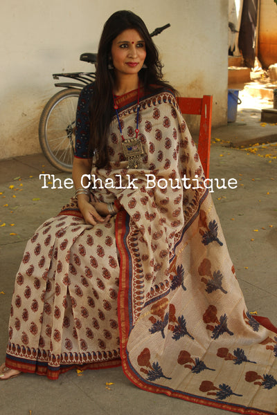 | Nostalgia | - Off White Hand Block printed Chanderi Saree.