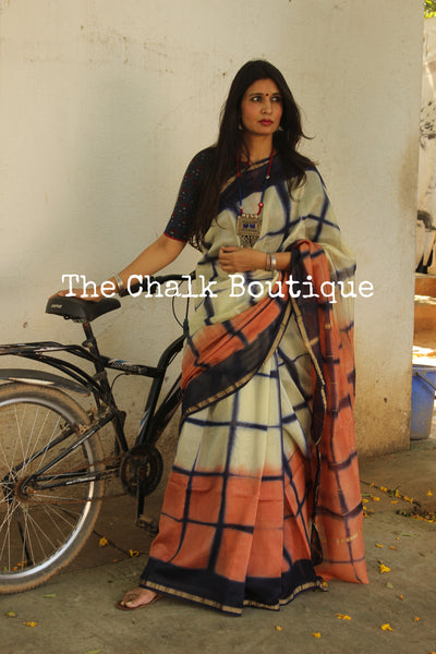 Peach and Blue Clamp Shibori chanderi saree. TCB-CH1-RB2