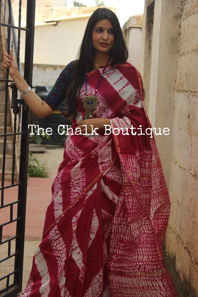 | Pink Faluda | - Pink Shibori chanderi saree. TCB-CH2-RB2-The Chalk Boutique