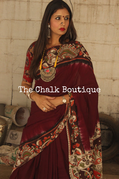 Wine plain with border hand Block Printed Cotton Kalamkari Saree TCB-KAL7-P1