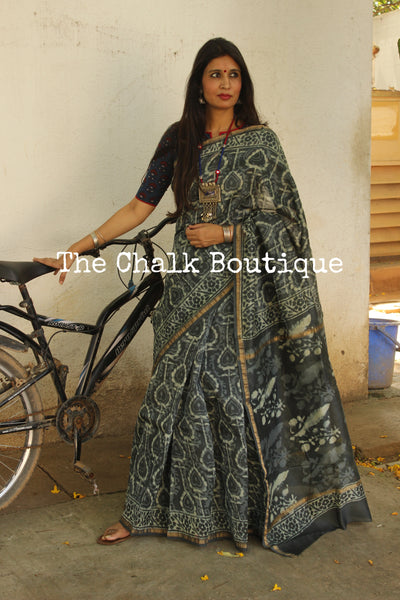 | Sweet Creatures | - Grey Batik Hand Block printed Chanderi Saree.