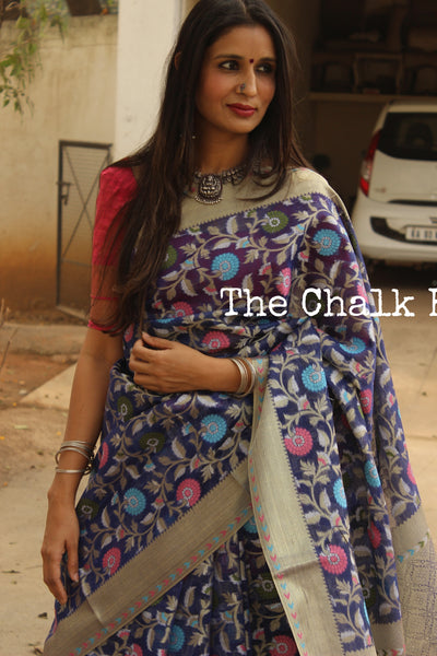 Blue telia munga Benarasi silk saree with all over floral weave. TCB-TM1-C2