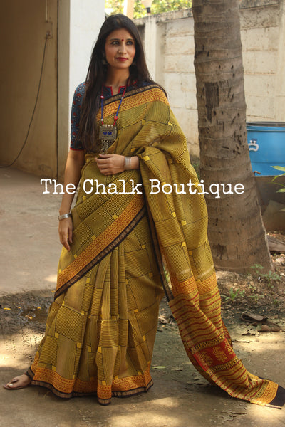 | Maze | - Deep Mustard Hand Block printed Chanderi Saree.