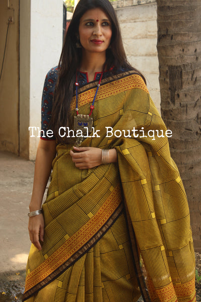 | Maze | - Deep Mustard Hand Block printed Chanderi Saree.-The Chalk Boutique