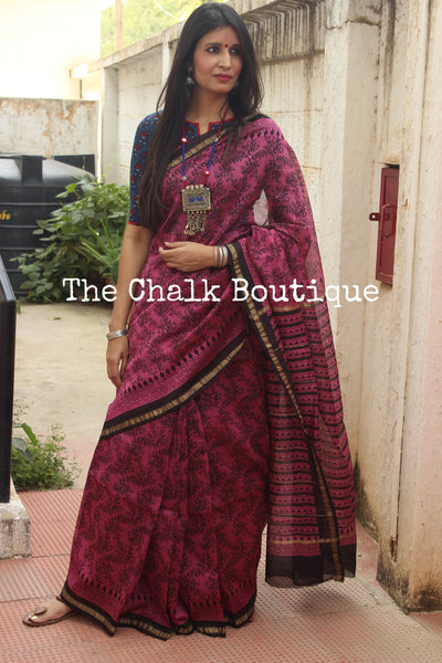 | Jaal | - Deep Pink Hand Block printed Chanderi Saree.