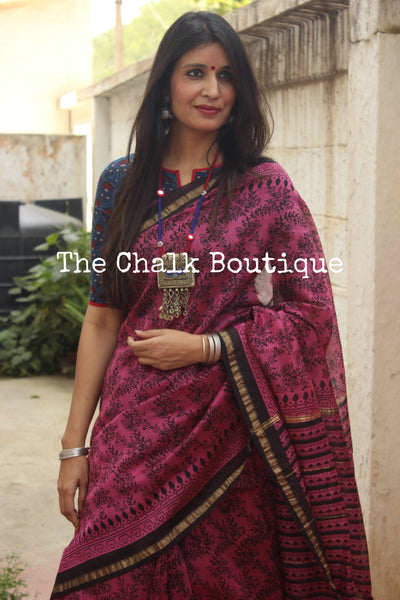 | Jaal | - Deep Pink Hand Block printed Chanderi Saree.-The Chalk Boutique
