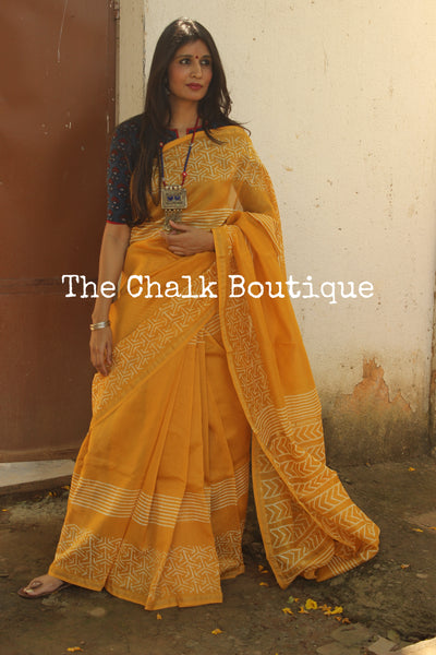 | Sunrise | - Beautiful Yellow Hand Block printed Chanderi Saree.