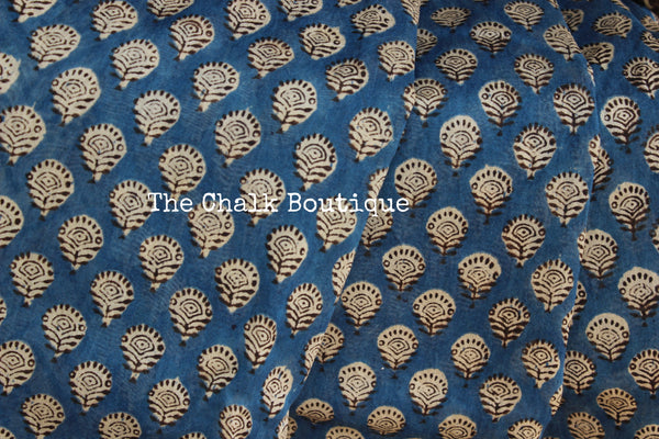 Blue chanderi hand block printed saree With Zari border.SHB-CHN12-C4