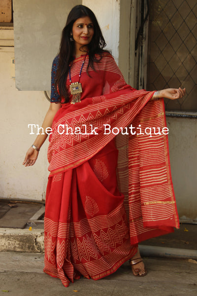 | Strawberry and Ice | -Hand Block printed Chanderi Saree.
