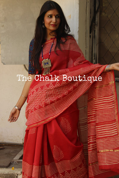 | Strawberry and Ice | -Hand Block printed Chanderi Saree.-The Chalk Boutique