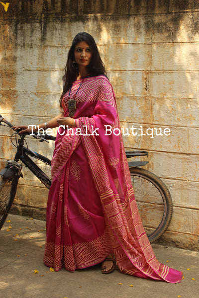 | Jaipur Diaries | -Pink Hand Block printed Chanderi Saree.