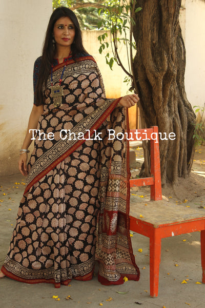| Untold Stories | - Black Hand Block printed Chanderi Saree.