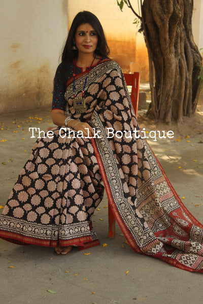 | Untold Stories | - Black Hand Block printed Chanderi Saree.-The Chalk Boutique